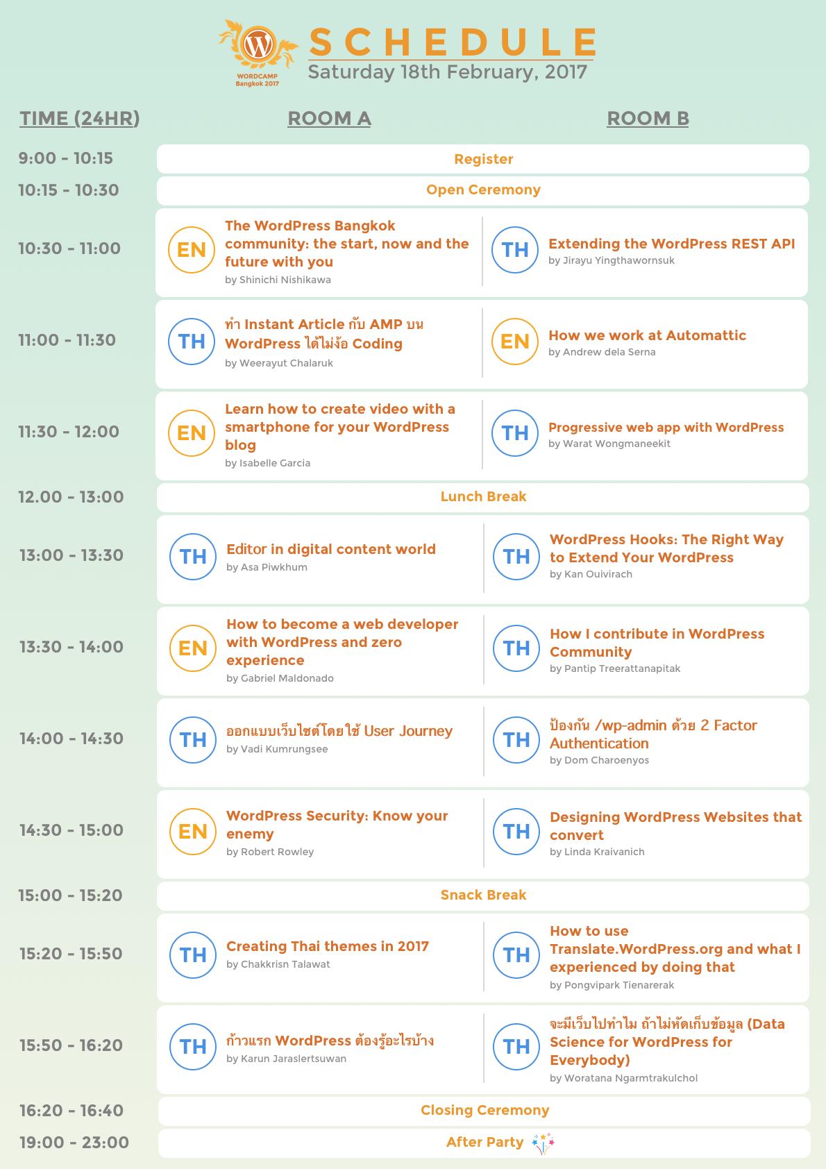 WordCamp Bangkok 2017 Schedule is released !